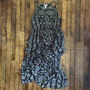 LIZ LANGE MATERNITY Sheer Black & Cream Maxi Dress